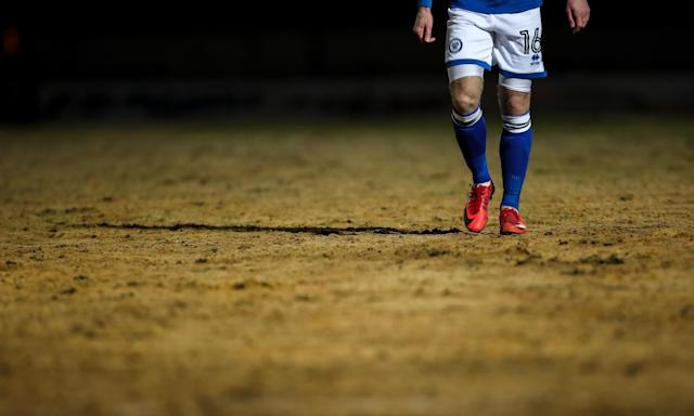The Rochdale pitch during their FA Cup match against Millwall this week.