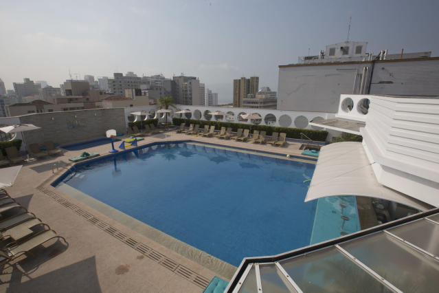 A view of the swimming pool at the Mendes Plaza Hotel where Costa Rica's 2014 World Cup team will stay during the World Cup in Santos, Brazil, Wednesday, Feb. 12, 2014. (AP Photo/Andre Penner)