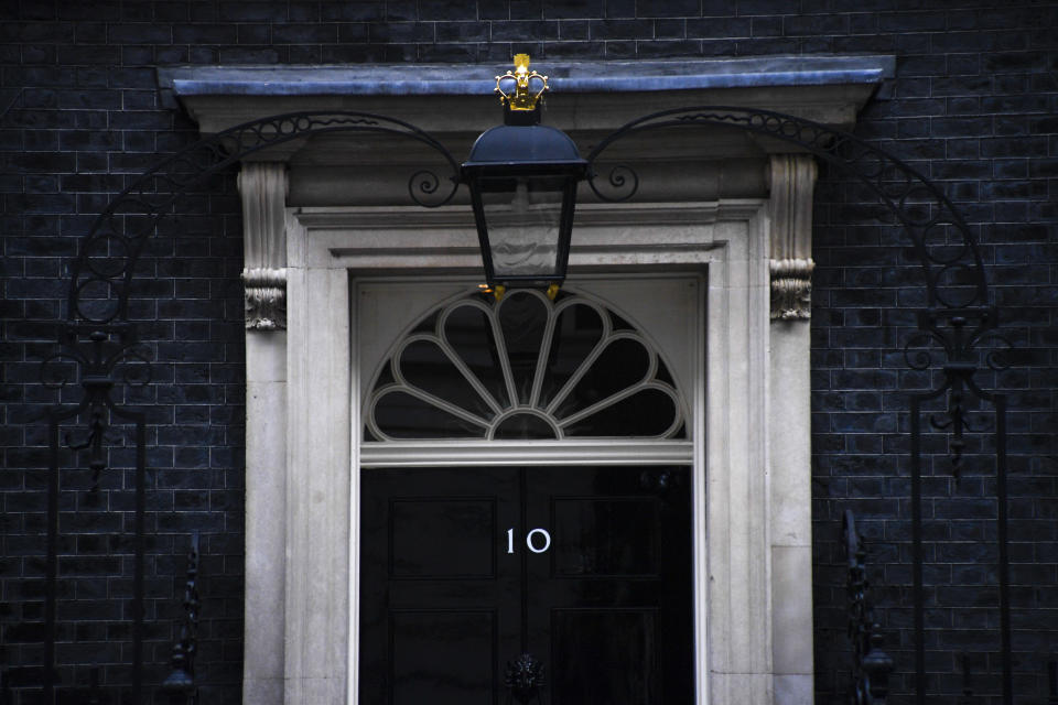 General view of 10 Downing Street, London on August 28, 2019. The Government is to ask the Queen to suspend Parliament until mid-September, to force through a no-deal Brexit. (Photo by Alberto Pezzali/NurPhoto via Getty Images)