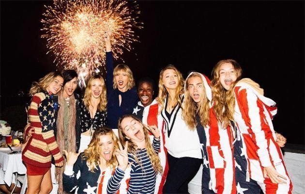 Taylor and her famous friends on the July 4 weekend. Source: Instagram