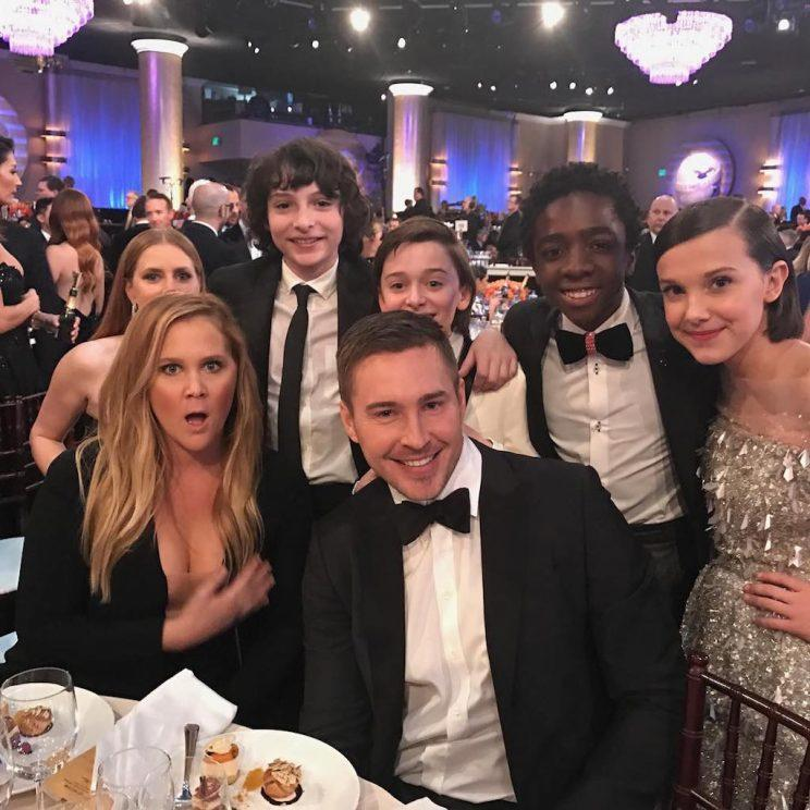 "Amy Schumer made sure to get a pic with the ""Stranger Things"" cast. (Photo: Instagram)"