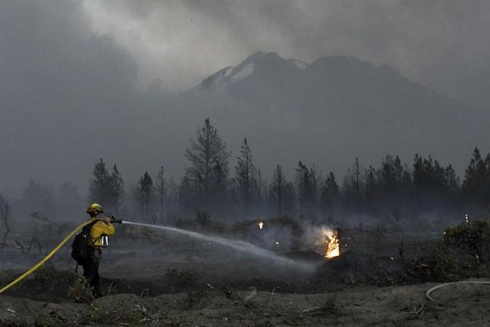 A firefighter cools down hot spots on June 28, after the Lava Fire swept through the area north of Weed.