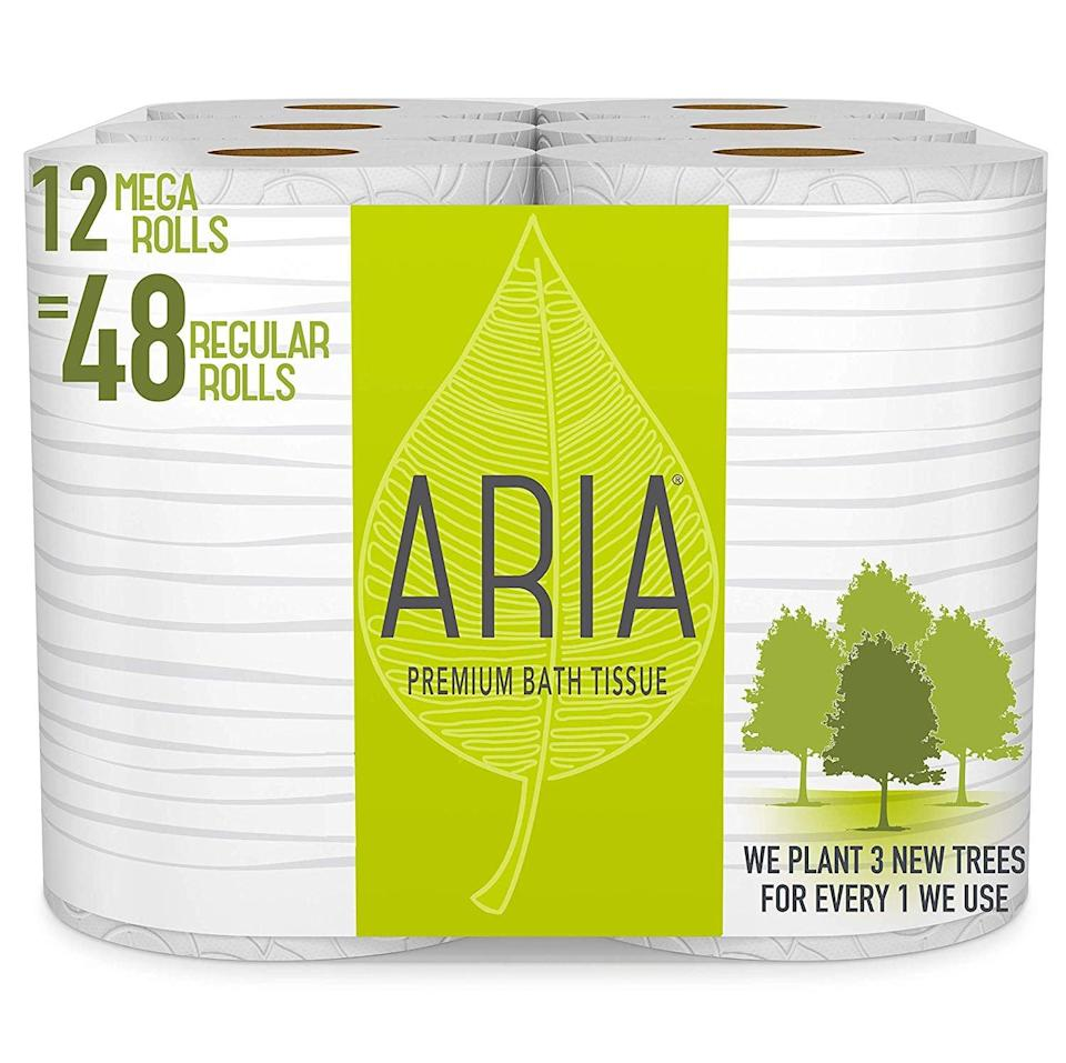 <p>Toilet paper comes in handy for anything, and the <span>Aria Premium Earth Friendly Toilet Paper</span> ($40 for 12 rolls) plants a tree for every pack you buy (so worth it!).</p>
