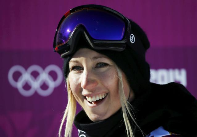 New Zealand's Christy Prior reacts at the finish line during the women's snowboard slopestyle qualifying session at the 2014 Sochi Olympic Games in Rosa Khutor February 6, 2014. REUTERS/Mike Blake (RUSSIA - Tags: OLYMPICS SPORT SNOWBOARDING)