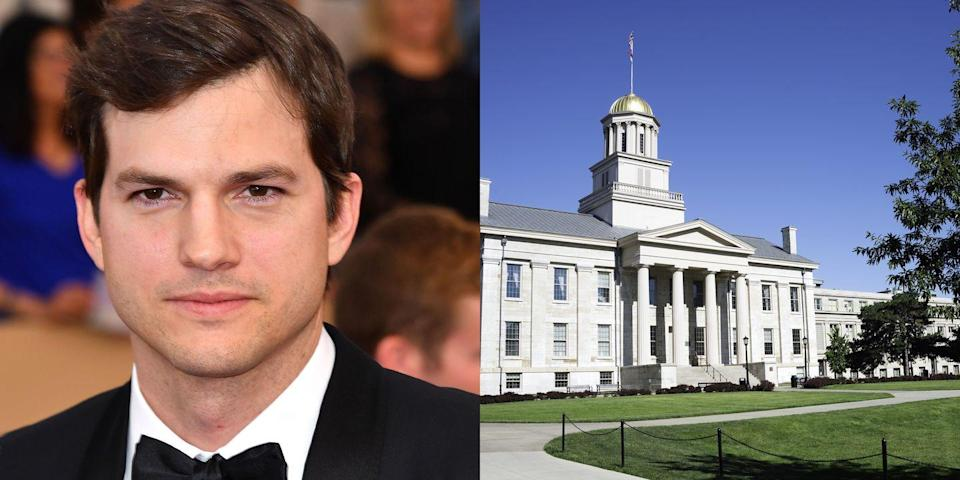 <p><strong>University of Iowa</strong></p><p>At the University of Iowa, Kutcher studied biochemical engineering and joined the Delta Chi fraternity. To earn money for his tuition, Kutcher worked in the cereal department for the General Mills plant in Cedar Rapids, and sometimes sold his own blood.</p>