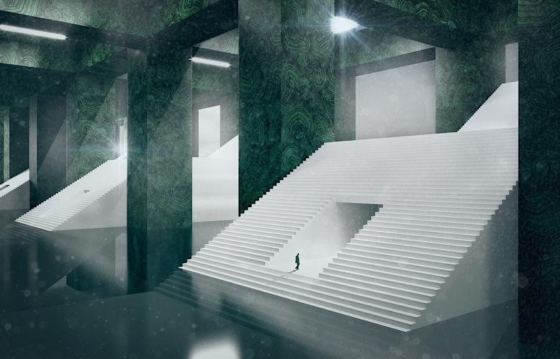 A construction of Winter, from de Cárdenas's series the Four Humors: a cold, amphibian environment, with a series of grand staircases ascending among a vast column grid of malachite.
