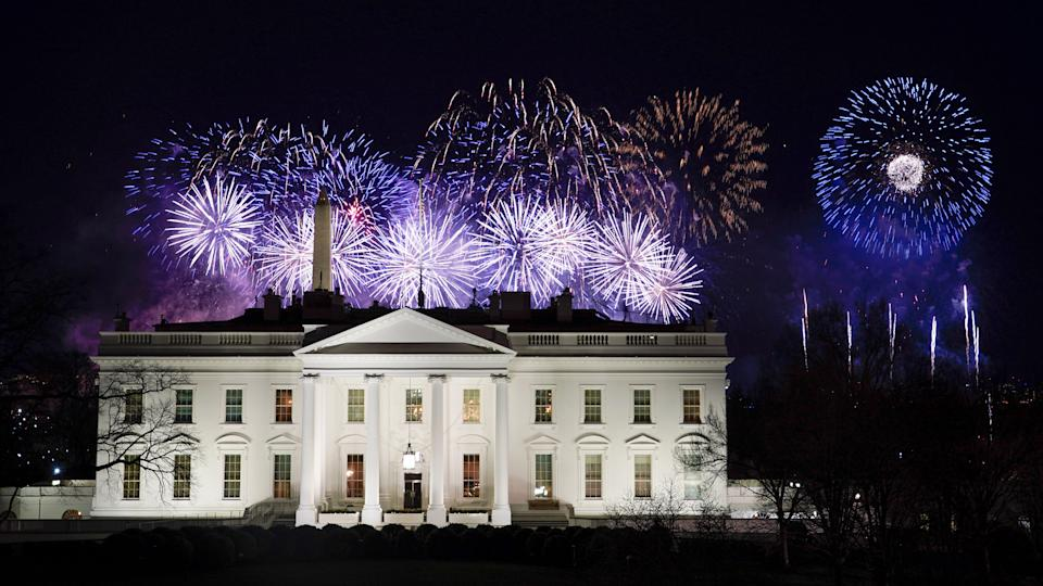 Fireworks lit up the sky at the end of the Biden inauguration events Wednesday night. (Photo: David J. Phillip/Associated Press)