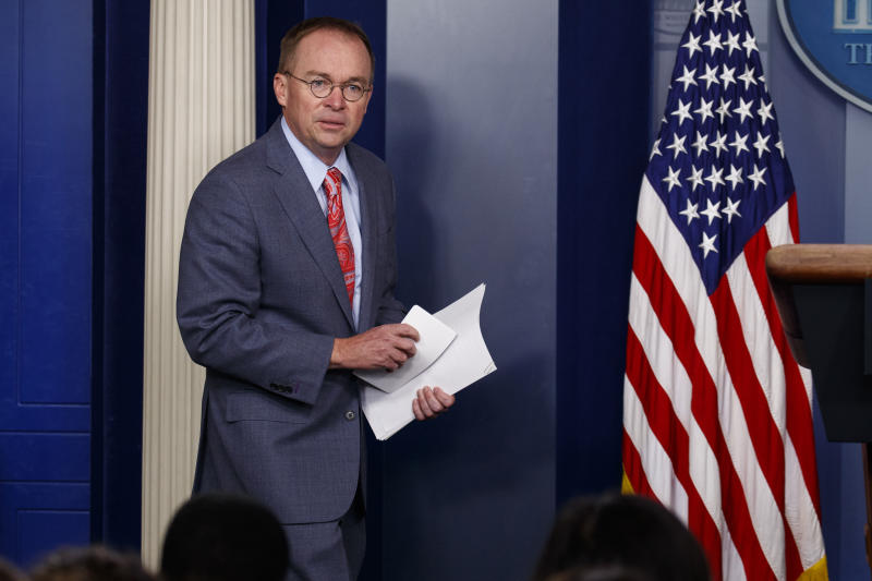 White House chief of staff Mick Mulvaney arrives to announce that the G7 will be held at Trump National Doral, Thursday, Oct. 17, 2019, in Washington. (AP Photo/Evan Vucci)