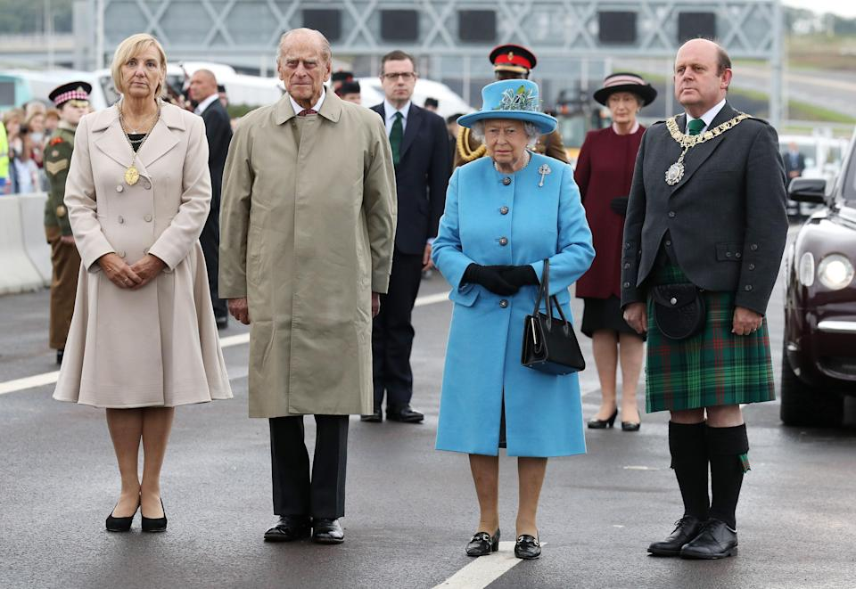 While Prince Philip retired from royal duties earlier in summer 2017, the Queen remains as active as ever. Here, the couple opened the new crossing on the Forth.