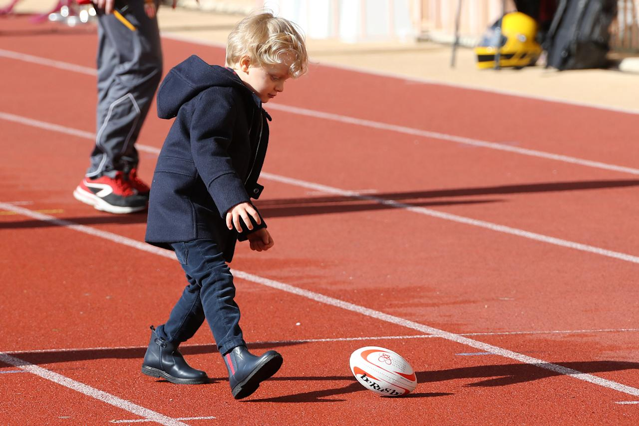 Prince Jacques of Monaco attends the International Rugby tournament Tournoi Sainte Devote at the Louis II Stadium in Monaco, March 31, 2018. Valery Hache/Pool via Reuters