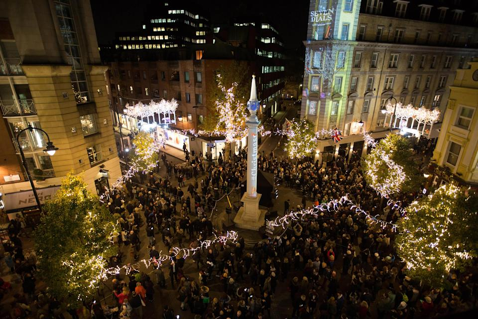 """<p>Head to London's West End on November 16 for an impressive light switch on. At 6.30pm, the countdown to the Christmas lights will begin followed by a food and shopping event until 9pm. There'll be live music from the 600-strong choir, Some Voices, as well as lots of discounts to enjoy. Register for free tickets <a href=""""https://www.sevendials.co.uk/"""" rel=""""nofollow noopener"""" target=""""_blank"""" data-ylk=""""slk:here"""" class=""""link rapid-noclick-resp"""">here</a>.<br><br></p>"""