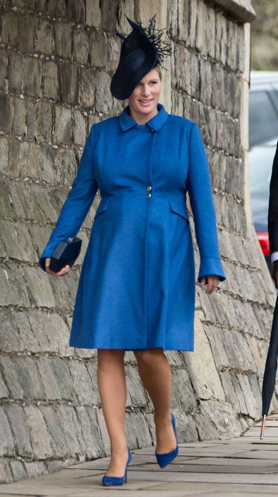 """<p>Princess Anne's daughter, Zara Tindall, attends the royal family's Easter church service. <a href=""""https://www.harpersbazaar.com/celebrity/latest/a19446849/queen-elizabeth-granddaughter-zara-tindall-pregnant-photos/"""" rel=""""nofollow noopener"""" target=""""_blank"""" data-ylk=""""slk:Tindall announced her pregnancy"""" class=""""link rapid-noclick-resp"""">Tindall announced her pregnancy</a> in January 2018.</p>"""
