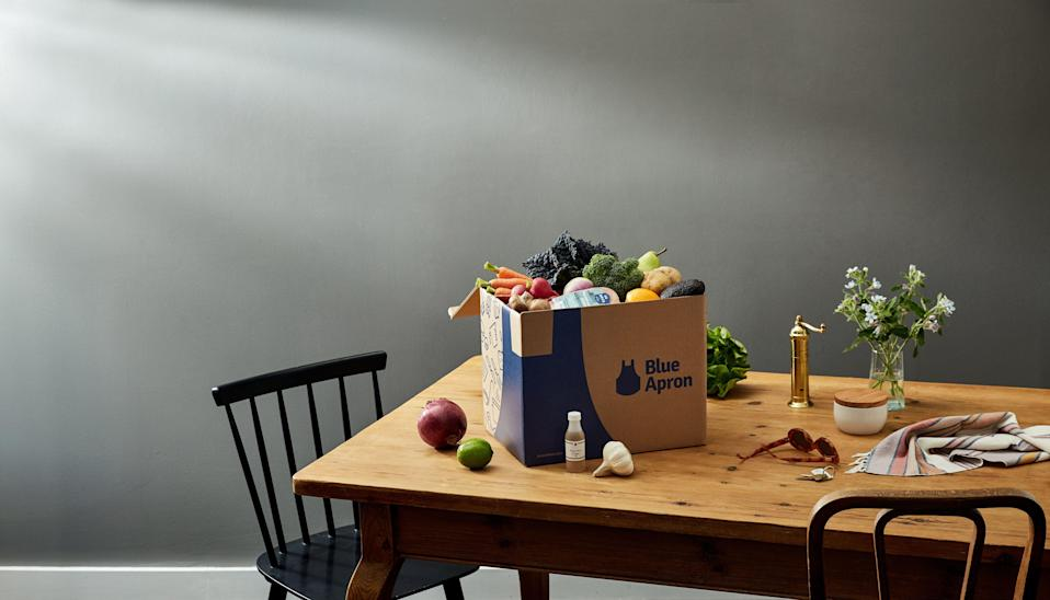 """<p><strong>Blue Apron</strong></p><p>blueapron.com</p><p><strong>$120.00</strong></p><p><a href=""""https://go.redirectingat.com?id=74968X1596630&url=https%3A%2F%2Fwww.blueapron.com%2Fgifts&sref=https%3A%2F%2Fwww.countryliving.com%2Flife%2Fg4248%2Ffirst-mothers-day-gifts%2F"""" rel=""""nofollow noopener"""" target=""""_blank"""" data-ylk=""""slk:Shop Now"""" class=""""link rapid-noclick-resp"""">Shop Now</a></p><p>Being a new mom means busy days with limited time for cooking healthy meals—so set her up with a subscription to Blue Apron.</p>"""