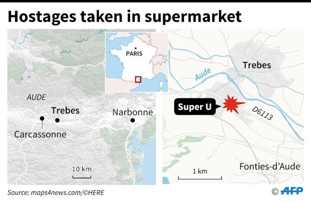 <p>Map of southern France locating Trèbes, where a man who claims allegiance to the Islamic State group has taken hostages in a supermarket. (Photo: Vincent Lefai/AFP) </p>