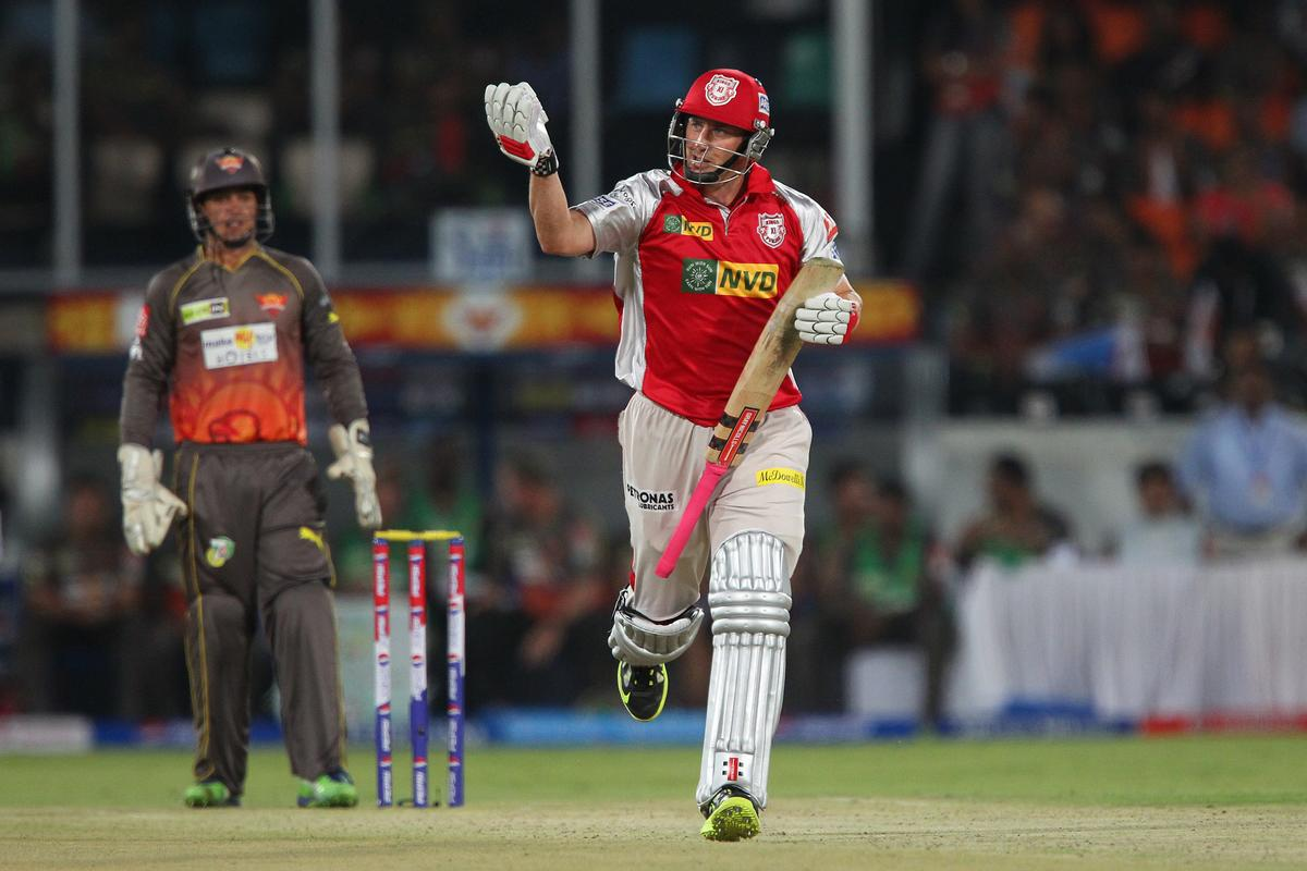 David Hussey has a word with himself about a shot during match 25 of the Pepsi Indian Premier League between The Sunrisers Hyderabad and The Kings XI Punjab held at the Rajiv Gandhi International  Stadium, Hyderabad  on the 19th April 2013..Photo by Ron Gaunt-IPL-SPORTZPICS..Use of this image is subject to the terms and conditions as outlined by the BCCI. These terms can be found by following this link:..https://ec.yimg.com/ec?url=http%3a%2f%2fwww.sportzpics.co.za%2fimage%2fI0000SoRagM2cIEc&t=1506146072&sig=b73qKJqcufh3aMu88Yswxw--~D