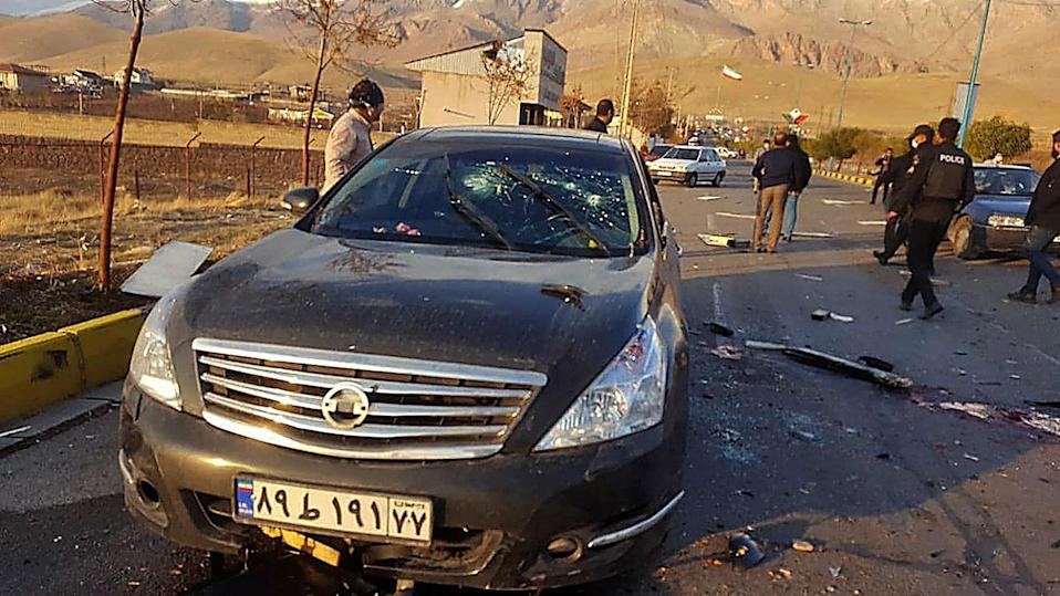 Image: The damaged car of Iranian nuclear scientist Mohsen Fakhrizadeh after it was attacked near the capital Tehran (IRIB / AFP - Getty Images)