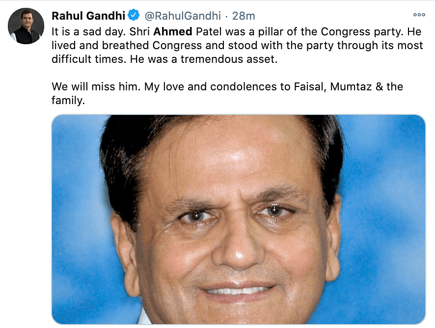 Rahul Gandhi reacts to Ahmed Patel passing away