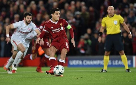 "Liverpool have their 'Fab Four' and the Premier League have their 'Fantastic Five' as the quintet of English clubs all qualified for the last-16 of the Champions League - which is the first time any country has achieved that remarkable feat. Here there was also a Magnificent Seven goal rush. Liverpool completed it in wonderful style, blowing away Spartak Moscow with an exhilarating attacking display orchestrated by their four relentless attackers. Philippe Coutinho, captaining the side, struck his first-ever Liverpool hat-trick while Sadio Mane, twice, Roberto Firmino and Mohamed Salah all scored as they topped Group E. Manager Jurgen Klopp had described this showdown as ""all or nothing"" and so his team gave their all and left the embarrassed Russian champions with nothing. The goals mean Liverpool scored an incredible 23 times in their six group games only bettered by Paris Saint-Germain this season, with a record 25 goals - and more than any English team has ever scored, more than Manchester United in 1998-99, when they won it. ""Wow, how did that happen,"" Klopp later said, paying tribute to the threat posed by Spartak even though they were humiliated. For Liverpool it is the first time they have reached the Champions League group stages since 2009 and it felt like a significant landmark for them, having fallen short in 2010 and 2014, ahead of Sunday's Merseyside derby. The one set-back, with ramifications for that fixture, was the loss of Alberto Moreno to an ankle injury that reduced him to tears. The game was quickly over. Liverpool claimed three goals in a devastating 17-minute first-half spell, aided by some horrendous defending from Spartak, partly forced by some awesome attacking from all angles. The lead was gift-wrapped inside four minutes. It came from a penalty, awarded after Georgi Dzhikiya bizarrely pulled back Salah following a cross by Coutinho even though it was sailing over the head of the pair of them. Did Dzhikiya slip? Maybe. But he still held Salah's arm, bringing the striker down with him. Coutinho stepped up and calmly lifted the ball to the goalkeeper's left as Aleksandr Selikhov dived to his right. Coutinho scores Liverpool's first from the spot Credit: Getty images The Kop's raucous reaction had probably helped make up the mind of Polish referee Szymon Marciniak but it was some mad defending by Dzhikiya. It was also – at three minutes and 51 seconds – the fastest-ever goal in a Champions League game at this stadium. Liverpool were buoyed; Liverpool were rampant. Klopp had reunited that attacking quartet, after several games of rotation, although he later described the formation as a more defensive-minded 4-4-1-1 with Mane and Coutinho wide midfielders and Salah behind Firmino. Whatever it was, it worked. They broke, with all four involved, as Mane slid the ball through to Salah who switched it out to Firmino. The striker had time and space and rolled it across the area for Coutinho to side-foot back across goal and into the net. Then they struck again - and again Spartak were culpable as they lost possession on half-way with Mane sprinting into their area and crossing towards Salah. The ball was intercepted by Serdar Tasci – it may well have been another penalty as it struck the defender's arm – but it rebounded to Firmino who curled it first-time inside the far post with the outside of his right boot. Liverpool vs Spartak Moscow shots on goal So the tie was finished. Liverpool had drawn 1-1 in Moscow in September, but Spartak were without Quincy Promes, their leading scorer, the captain, Denis Glushakov, and the striker Ze Luis on that occasion and although their record in Europe is modest they had lost just one of their past 19 games in all competitions. However any Klopp concerns had been quickly blown away. Once more the quartet combined with Coutinho playing an 'around-the-corner' pass to Firmino who ferried it on for Salah who flicked it out wide to allow Mane a clear run on goal. It was a glorious set-up – only for Mane to blast over…just as Salah did after wriggling free moments later. Moreno's replacement was James Milner and such was Liverpool's dominance that he popped up as a left-winger, not a left-back, involving himself in three of the four second-half goals. Soon after the re-start they struck with Coutinho pushing the ball out wide to Milner who crossed for Mane to scissor a glorious, acrobatic right-footed volley high into the net. It was a stunning finish. Sadio Mane scores the goal of the night to make it 4-0 Credit: Getty images Anfield erupted for that one and then, also, for Coutinho as he completed that hat-trick, collecting a short pass from Milner and driving his shot goalwards with it ricocheting heavily off defender Salvatore Bocchetti and beyond the wrong-footed Selikhov. It was Liverpool's first Champions League hat-trick for 10 years. Mane claimed his second with Firmino's replacement Daniel Sturridge pulling out wide right, from Salah's pass, and unselfishly crossing low for Mane to stretch, as he stumbled, and side-foot home. Sturridge should have had a penalty, when he was felled by Selikhov, and then the striker flicked the ball over under pressure. Finally it was Salah who did score – and how odd it would have felt if he had not! - with Milner alertly heading the ball back infield towards Sturridge, who smartly jumped over it. It ran to Salah who checked and fired high into the goal to complete the rout, the second time they have scored seven in Europe this season. It was some show of power. 9:39PM Who could Liverpool face? Liverpool's possible #UCL opponents: Bayern Munich, FC Basel, FC Porto, Juventus, Real Madrid, Shakhtar Donetsk. #LFC— Dale Johnson (@DaleJohnsonESPN) December 6, 2017 9:36PM Full time And that's that. Liverpool have strolled, incredibly, to their second 7-0 win of this group stage alone. That really was very impressive stuff from the hosts, but Spartak were truly awful and didn't make much of a game of it. Liverpool will be pleased to have won that without expending too much effort, the only blemish Alberto Moreno's injury ahead of Sunday's Merseyside derby. Liverpool vs Spartak Moscow shots on goal 9:32PM They're now on 23... Liverpool have scored 22 goals in the Champions League this season. They only scored 18 in 2004-05, when they won it.— Richard Jolly (@RichJolly) December 6, 2017 9:30PM GOOOOAL! Liverpool 7-0 Spartak (Salah) And Salah has his goal. He latches on to Milner's cross after Sturridge's dummy, fakes a shot to sell two defenders before firing into the top corner. Just so easy. Liverpool 7 - 0 Spartak Moscow (Mohamed Salah, 86 min) 9:27PM 84 mins Lovely ball inside the full back from Mane, Alexander-Arnold comes steaming into the area and crosses low for Sturridge, but he can only turn over the bar. Out: Liverpool 6 - 0 Spartak Moscow (Daniel Sturridge, 84 min) 9:26PM 81 mins Big penalty shout and Sturridge cannot believe it hasn't been given. Coutinho scoops a ball over the defence, Sturridge runs onto it, tries to tap it past the onrushing keeper, but replays show Selikhov gets an inadvertent touch on it before Spartak scramble it clear. 9:20PM GOAL! Mane makes it 6-0! Mane nicks possession inside the centre circle and Liverpool burst to life. Can finds Salah and Sturridge is advancing to his right. He looks up to see Mane arriving in the six yard box and squares the ball across goal for Mane to tap in. It was just behind him but he does well to force it home. Ball recovery: Liverpool 5 - 0 Spartak Moscow (Emre Can, 72 min) 9:18PM 74 mins Quincy Promes with the best effort of the game for Spartak, controlling Zabalic's pass before whipping an effort towards the far post, but it flies just wide of the post. 9:14PM 71 mins Finally Klopp relents. Firmino is replaced by Daniel Sturridge, who will want a goal here. 9:11PM 68 mins Liverpool only have one sub left, but can anyone work out why Klopp isn't taking one of his attackers off with the Merseyside derby in mind? Haven't these guys done enough? Credit: Getty images 9:08PM 66 mins Pasalic turns Wijnaldum well enough in front of the Liverpool defence and shoots from the edge of the area but it flies well over the bar. 9:05PM 61 mins Very nearly six for Liverpool, Selikhov tips Salah's effort around the post after the Egyptian dances his way into the Spartak box, opens his body up and shoots left-footed towards the bottom left-corner. Good save. 9:02PM 60 mins Subs for both teams: Trent Alexander-Arnold replaces Lovren for Liverpool (Gomez will go to centre-back. Pasalic replaces Dzhikiya for the visitors. 9:01PM 59 mins And I can confirm Liverpool have had a touch in the Liverpool half. Zobnin lofts a cross into the box. Klavan clears. 8:58PM 55 mins Spartak can't get out of their half and Liverpool are rampant. Luiz Adriano turns well near halfway, and lofts a ball over Gomez for Melgarejo to chase, but the newly-introduced sub can't beat the Liverpool man for pace. I don't think Spartak have touched the ball in the Liverpool half since the break. 8:56PM GOOOOOALL!! Coutinho completes his hat-trick to make it 5-0! Liverpool are on fire! It's another move that starts off patiently and then sparks into life in the final third. Firmino finds Milner, who drills a ball into Coutinho on the edge of the box. One touch with his right to control, and a shot with his left without breaking stride, and a deflection wrong-foots Selikhov in the Spartak goal. Liverpool 5 - 0 Spartak Moscow (Philippe Coutinho, 50 min) 8:52PM GOOOOOAALL!! Sadio Mane makes it four! Maybe I was a little premature with that 5-0 prediction... Milner gets forward down the left and Coutinho finds him. With his first touches Milner controls the ball and whips in a perfect cross to Mane at the back post, and he meets it on the volley nearly at chest height to slam into the top corner! What a finish that is and Liverpool score within two minutes of the half starting. Liverpool 4 - 0 Spartak Moscow (Sadio Mané, 47 min) 8:48PM The players are back out And Liverpool get the second half started. I'm predicting two more home goals and a 5-0 final score. 8:34PM Half time This game is over, in all honesty. The soft penalty after two minutes gave Liverpool the chance to take full control and they didn't need asking twice. 3-0 up within 19 minutes and cruising, they will finish top of the group. The next 45 minutes are inconsequential, really. Here's the half in graphics: Shots Liverpool vs Spartak Moscow shots on goal Possession Possession: Liverpool vs Spartak Moscow Pass map Liverpool vs Spartak Moscow This last one is really interesting. Spartak have had more of the ball and have just about played more passes in the final third, but just look at how many straight passes Liverpool are playing in attacking areas. They are just so clinical on the break and the scoreline reflects that. 8:31PM 45 mins Moreno is down again, and it doesn't look great. He has his head in his hands. James Milner is getting ready to come on. Moreno is in tears as he hobbles off. 8:29PM 44 mins Moreno is back on the pitch. 8:29PM 41 mins Spartak are committing men forward and they have a couple of shooting opportunities blocked by good Liverpool defending. One of those challenges has caused Alberto Moreno an injury - he is down receiving treatment, and for some reason Philippe Coutinho is over there helping out... Moreno is hobbling to the sideline. He's nodding, which I am interpreting as ""yes, thanks. I'm ok."" 8:24PM 38 mins Dzhikiya is lucky to escape a second yellow for what looks a deliberate handball as Liverpool try to break. 8:23PM 36 mins Firmino turns well into space in midfield, and slides a ball towards Salah who is racing through the space between the two centre-backs. He knows he has Mane in support and plays a beautiful little flick around the corner for the Senegal international to run onto. He's bearing down on goal and should make it four... but miscues his shot and skies it into the stand. 8:21PM 34 mins A nasty-looking collision as Ze Luis goes charging through on goal with Gomez. The Liverpool man looks favourite to get there but here comes Loris Karius! He goes flying into the challenge and all three players smash into each other. They all get up to see the linesman's flag was up! Rush of blood to the head, that. 8:15PM 29 mins Promes shows a rare sign of brightness for the visitors, bursting through a gap in midfield and shooting from just outside the area. It's deflected wide. 8:12PM 26 mins Liverpool certainly aren't finished yet, Coutinho lining up an effort for his third by he is halted as he kicks Luiz Adriano's leg and crumples to the floor on the edge of the box. The Spartak man gets none of the ball, so surely that was a foul?? 8:10PM This would be fun If Liverpool keep up this rate of scoring - one every 6.33 minutes - they will COMFORTABLY beat their record European win of 11-0 over Stromsgodset in 1974.— Miguel Delaney (@MiguelDelaney) December 6, 2017 8:09PM I imagine this could increase by the end of the night 6 - Roberto Firmino has scored six goals in the Champions League this season, the most by a Liverpool player in a single group stage campaign in the competition. Stage. pic.twitter.com/pOrnBgkkZa— OptaJoe (@OptaJoe) December 6, 2017 8:07PM 21 mins Liverpool have another chance with Mane shooting wide from edge of the box when he had plenty of options left and right. 8:06PM GOOOOOALLL! Liverpool 3-0 Spartak (Firmino) This is ridiculously easy for Liverpool. Glushakov drills an awful pass at the heels of his advancing left-back, it bounces off him and falls to Sadio Mane. He drives at the Spartak goal, dinks a ball in to the centre, it hits Bochetti (possibly on the arm) and Firmino comes steaming in to slam home Liverpool's third. Game over. Liverpool 3 - 0 Spartak Moscow (Roberto Firmino, 18 min) 8:02PM GOOOOOAL!!! Liverpool 2-0 Spartak Moscow (Coutinho) Coutinho gets his second of the game to double Liverpool's lead, and it's a lovely goal involving each of the Fab Four. Mane starts things off by drifting through midfield unchallenged, he feeds Salah, whose first time pass finds Firmino, and rather than shooting from an angle the Brazilian finds his compatriot Coutinho arriving at the back post and lays it on a plate for him. Two goals for Coutinho and Liverpool are strolling. Liverpool 2 - 0 Spartak Moscow (Philippe Coutinho, 15 min) 8:00PM 14 mins A good break from Spartak with Zobnin getting forward well on the right, and feeding Luiz Adriano in a central position. He never gets his head up and doesn't notice he has options ahead of him. Instead he shoots from the edge of the box and though he hits it well enough, it's a save Karius will expect to make. Attempt Saved: Liverpool 1 - 0 Spartak Moscow (Luiz Adriano, 13 min) 7:56PM 10 mins Mane wastes a decent opportunity from Liverpool choosing to shoot from a tight angle when Salah and Firmino were waiting in the middle for a cross. 7:55PM 8 mins Spartak have responded well, linking play in midfield and forging their first half chance of the game. Promes shoots from Ze Luis' lay-off but his effort is deflected over. The corner comes to nothing. 7:53PM 7 mins The volume is rising at Anfield and the referee is allowing the game to spice up. He dishes out a second yellow inside seven minutes, with Emre Can harshly booked for lunging in, let's say, enthusiastically, in midfield. He'll miss the next game Liverpool game in Europe through suspension. 7:52PM GOAL! Liverpool 1-0 Spartak Moscow (Coutinho pen.) Nerves settled at Anfield, as Coutinho calmly slots the spot kick home, and that could is huge for this Liverpool team. It was a gift of an early goal, but they won't care. Liverpool 1 - 0 Spartak Moscow (Philippe Coutinho, 4 min) 7:50PM PENALTY TO LIVERPOOL! Coutinho lofts a hopeful ball into the Spartak box and Mo Salah goes to ground along with Dzhikiya and there are some hopeful calls for a penalty in the stands. The referee takes a second and then gives it! It's so, so, so soft, but the defender gets a yellow card, too. 7:48PM 2 mins All the early possession for the visitors, and all the early noise coming from the away end. There simply cannot be any complacency from Liverpool tonight against a side many will be expecting them to beat. 7:46PM Are we in for more Anfield drama? Let's find out - Spartak get us under way. 7:45PM A reminder of the situation Liverpool need a draw to qualify, and a win to guarantee top spot. Group E – after five games 7:42PM Here come the players Liverpool all in red with white trim; Spartak all white with red trim. 7:27PM Spartak's dangerman Quincy Promes is the man to keep an eye out for tonight. He arguably hasn't reached the heights some thought he might, much like the rest of the current Holland team he is part of. Quincy Promes (centre) during a training session at Anfield Credit: Getty images But he is Spartak's top scorer and has the most assists in the Russian Premier League, while he has two goals and two assist in four Champions League games. We know Liverpool's weaknesses are at the back, and Promes will carry much of the visitors' threat. 7:17PM Liverpool's youth team played Spartak earlier... And it ended with Rhian Brewster being dragged away from his Russian opponents following the final whistle. Liverpool accused Spartak of racism - not for the first time this season - and Brewster alleges that he was abused by opposing players. Youth team coach Steven Gerrard confirmed Liverpool will be following the matter up and Uefa will no doubt investigate. 6:54PM Klopp explains his selection decisions ""I thought the best way not to lose is to win the game. Like always, we will need perfect organisation and we show our respect for the opponent with our attitude in the game. ""No line-up gives you the guarantee for a win, we always work with probabilities and stuff like this. ""It's a completely different game [to the one in Russia], they have a different side with three or four important players back in the squad. There is no difference in our approach because you cannot draw with the intention to draw for 90 minutes, that does not work. ""We have to work, be well organised and play football. It is our home game and we are a strong side, so we should show that – we should show what we are fighting for."" 6:45PM The teams are in And Klopp makes five changes to the team that beat Brighton on Sunday, and reverts to four at the back. Philippe Coutinho captains the side: Liverpool: Karius; Gomez, Lovren, Klavan, Moreno; Can, Wijnaldum, Coutinho; Salah, Mane, Firmino Subs: Mignolet, Alexander-Arnold, Milner, Henderson, Oxlade-Chamberlain, Solanke, Sturridge Coutinho captains the side tonight Credit: Getty images As Klopp highlighted yesterday, Spartak have three key men in Quincy Promes, Ze Luis and Denis Glushakov available again. Here's the team. Selikhov; Eshchenko, Tasci, Bocchetti, Dzhikiya; Fernando, Glushakov; Zobnin, Adriano, Promes; Ze Luis 6:23PM Preamble Here we go then, it's all or nothing for Liverpool tonight. Well, that's what Jurgen Klopp said yesterday ahead of this tie. He wants ""Anfield to be at its best"" as Liverpool aim to reach the knockout stages of the Champions League for the first time since 2009. So, this is the situation: Liverpool are top of Group E, and require a point to guarantee their place in the next round. However, with second-place Sevilla expected to beat rank outsiders Maribor in the group's other fixture, Klopp's men may actually need three points to fend off Sevilla and secure top spot. Here's how the table looks going into tonight's game: Group E – after five games You might think Liverpool should just be happy to make it through, but there is a difference between first and second place when it comes to second round opponents. Finish second, as Chelsea did last night, and the only teams Liverpool could face would be Barcelona, PSG or Besiktas. Finish top and the options aren't much easier, but they could include Basel, Porto and Shakhtar Donetsk. Small margins and all that... Anyway, we should have team news for you in the next 20 minutes."