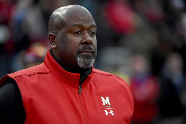 Maryland head coach Mike Locksley looks on prior to an NCAA college football game against Nebraska, Saturday, Nov. 23, 2019, in College Park, Md. (AP Photo/Will Newton)