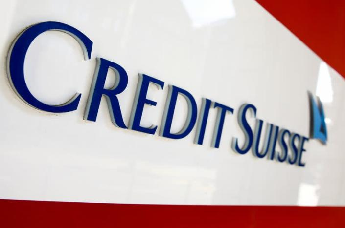 FILE PHOTO: The logo of Swiss bank Credit Suisse is seen at a branch office in Zurich