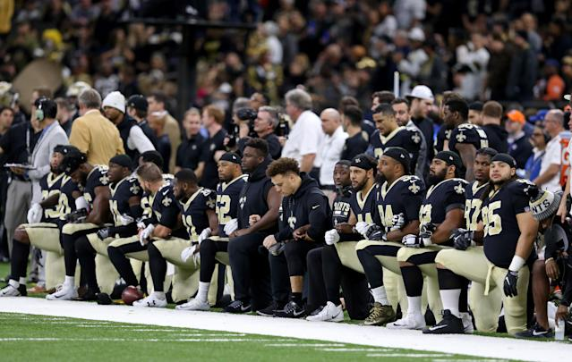 <p>New Orleans Saints players kneel before the National Anthem and before their game against the New York Jets at the Mercedes-Benz Superdome. All players stood for the playing of the Anthem. Mandatory Credit: Chuck Cook-USA TODAY Sports </p>