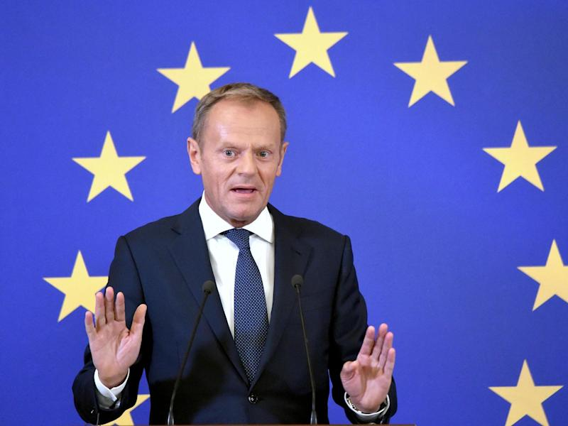 Donald Tusk condemned US president's tariffs and views on Russia, while warning Boris Johnson he would not cooperate on a no-deal Brexit: Sergei Supinsky/AFP/Getty Images