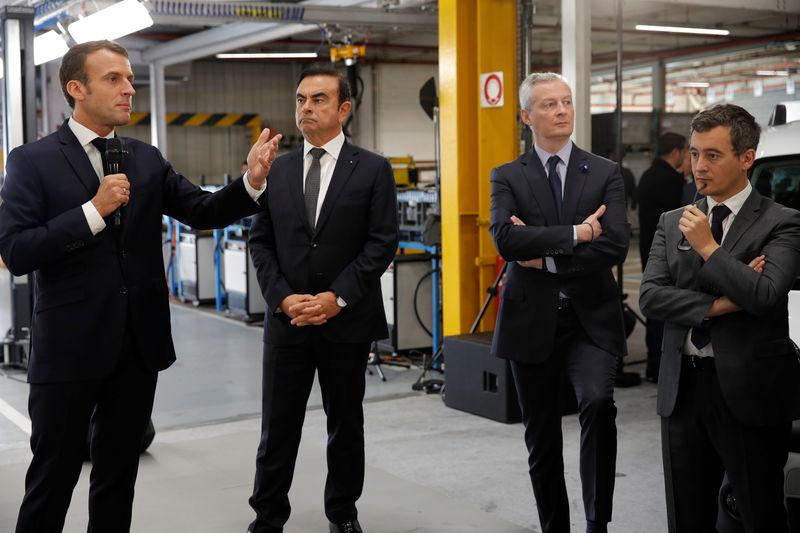 French President Emmanuel Macron and Carlos Ghosn, CEO of French car maker Renault, visit the Renault Maubeuge Construction Automobile factory in Maubeuge