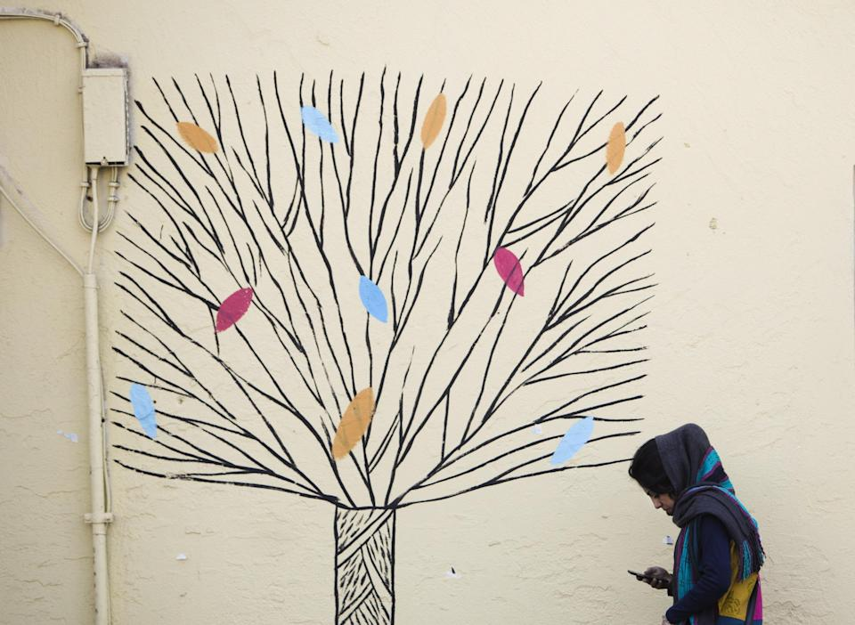 An woman checks her mobile phone as she walks past graffiti of a tree in central Tehran in this file photo from 31 December 2014: Getty