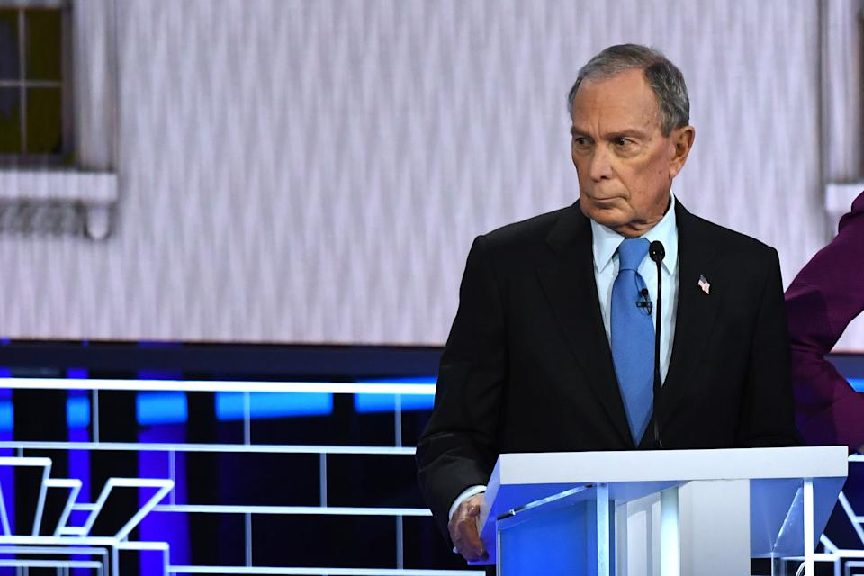 Democratic presidential hopeful former New York Mayor Mike Bloomberg looks on during the ninth Democratic primary debate of the 2020 presidential campaign season co-hosted by NBC News, MSNBC, Noticias Telemundo and The Nevada Independent at the Paris Theater in Las Vegas, Nevada, on February 19, 2020. (Photo by Mark RALSTON / AFP) (Photo by MARK RALSTON/AFP via Getty Images)