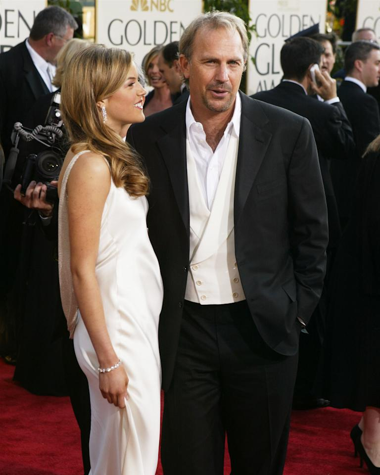Actor Kevin Costner and daughter Lily Costner (Miss Golden Globe) attend the  61st Annual Golden Globe Awards on January  25, 2004 in Beverly Hills, California. (Photo by Carlo Allegri/Getty  Images)