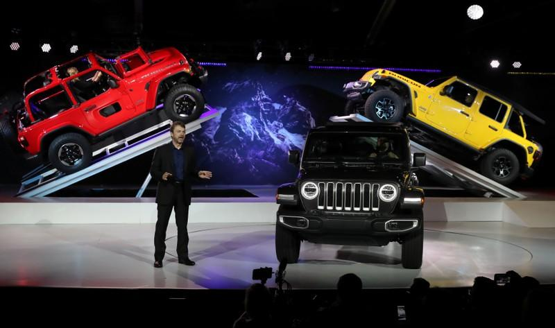 FILE PHOTO: Wrangler models shown at the Los Angeles Auto Show in Los Angeles