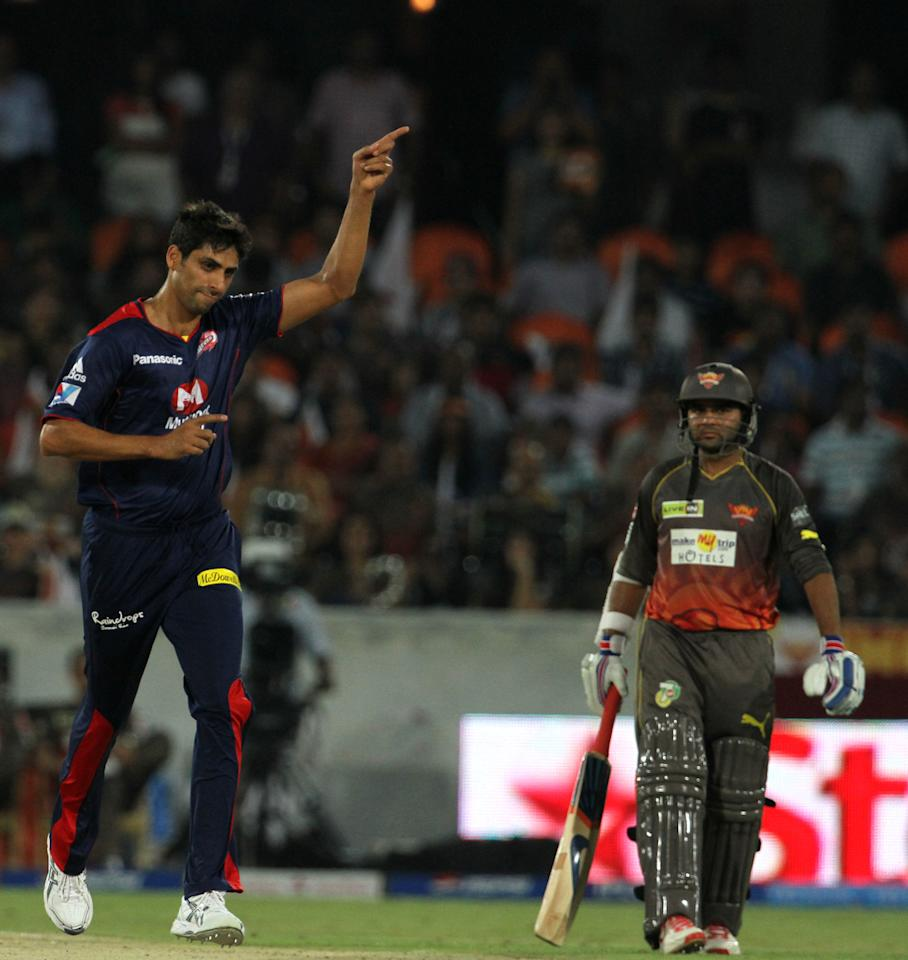 Delhi Daredevils player Ashish Nehra celebrates after taking the wicket of Sun Risers Hyderabad player Ashish Reddy during match 48 of the Pepsi Indian Premier League between The Sunrisers Hyderabad and Delhi Daredevils held at the Rajiv Gandhi International  Stadium, Hyderabad  on the 4th May 2013..Photo by Vipin Pawar-IPL-SPORTZPICS  ..Use of this image is subject to the terms and conditions as outlined by the BCCI. These terms can be found by following this link:..https://ec.yimg.com/ec?url=http%3a%2f%2fwww.sportzpics.co.za%2fimage%2fI0000SoRagM2cIEc&t=1503127992&sig=WfM3JEsSSn5E8F7P5qj6tw--~D