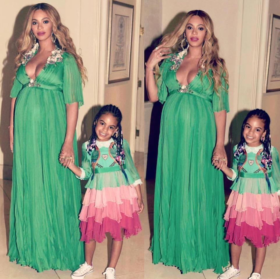 "<p>The pregnant star and 5-year-old Blue Ivy looked like IRL princesses for the <em>Beauty and the Beast </em>premiere, coordinating in pastel dresses. Beyoncé looked ethereal in an emerald empire-waist gown while Blue paired her tiered pink and green dress with Converse kicks ($50; <a rel=""nofollow"" href=""http://click.linksynergy.com/fs-bin/click?id=93xLBvPhAeE&subid=0&offerid=390098.1&type=10&tmpid=8157&RD_PARM1=http%253A%252F%252Fshop.nordstrom.com%252Fs%252Fconverse-chuck-taylor-sneaker-toddler-little-kid-big-kid%252F2860419%253Forigin%253Dcategory-personalizedsort%2526fashioncolor%253DOPTICAL%252520WHITE&u1=ISNEWSBlueIvySneakers3.6OB"">nordstrom.com</a>).</p>"
