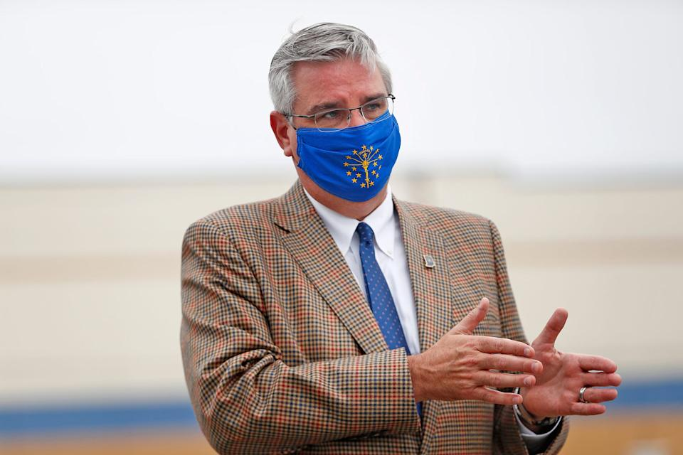 Governor Eric Holcomb answers questions for the media after the MonoSol Lebanon Facility ribbon cutting, Thursday, July 16, 2020.