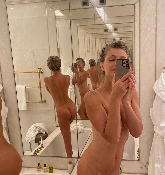 """<p>The model has an archive of Instagram photos that prove age is just a number and angles are everything. Her most recent? A bathroom butt selfie (AKA a """"belfie"""") she<a href=""""https://people.com/style/paulina-porizkova-shares-nude-selfie-on-instagram/"""" rel=""""nofollow noopener"""" target=""""_blank"""" data-ylk=""""slk:snapped during a trip to Rome"""" class=""""link rapid-noclick-resp""""> snapped during a trip to Rome</a>. """"My hotel Eden in Rome, has, besides a beautiful room I'm staying in, this pretty happening bathroom. After work and a leisurely bath, I was bored, which led to this celebration of narcissism, the naked selfie,"""" she captioned the risqué <a href=""""https://people.com/style/paulina-porizkova-shares-nude-selfie-on-instagram/"""" rel=""""nofollow noopener"""" target=""""_blank"""" data-ylk=""""slk:photo"""" class=""""link rapid-noclick-resp"""">photo</a>. </p>"""