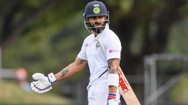 Virat Kohli, pictured here walking off after another cheap dismissal against New Zealand.