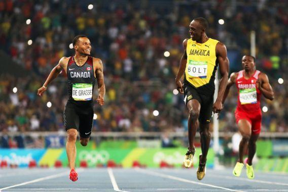 "<p>De Grasse exploded onto the Olympic scene in Rio, capturing Canada's attention with three medal wins at the 2016 Summer Games. The Toronto native picked up a bronze in the men's 100m, a bronze in the men's 4x100m relay, and a silver in the men's 200m. Canadians were thrilled with De Grasse's performance, but it was his burgeoning bromance with ""the fastest man in the world"" that really captured the world's attention. The two ran several heats together throughout the Games, including all three finals where De Grasse came up short. It's photos like the one above that became some of the most popular memes to develop from the Rio Games. </p>"