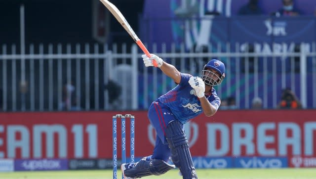 Rishabh Pant Captain of Delhi Capitals plays a shot during match 41 of the Vivo Indian Premier League between the KOLKATA KNIGHT RIDERS and the DELHI CAPITALS held at the Sharjah Cricket Stadium, Sharjah in the United Arab Emirates on the 28th September 2021 Photo by Rahul Gulati / Sportzpics for IPL