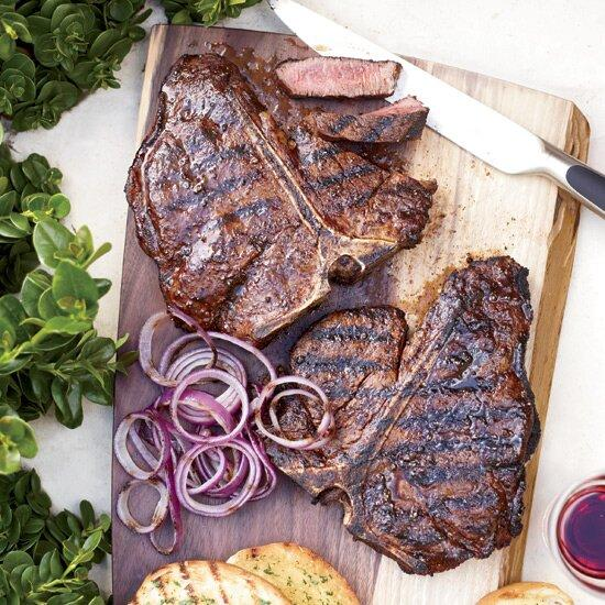 """<p>Big, thick steaks need a lot of seasoning, so be sure to cover them liberally with salt, pepper and any rub before grilling.</p><p><a href=""""https://www.foodandwine.com/recipes/spice-rubbed-t-bone-steaks"""">GO TO RECIPE</a></p>"""