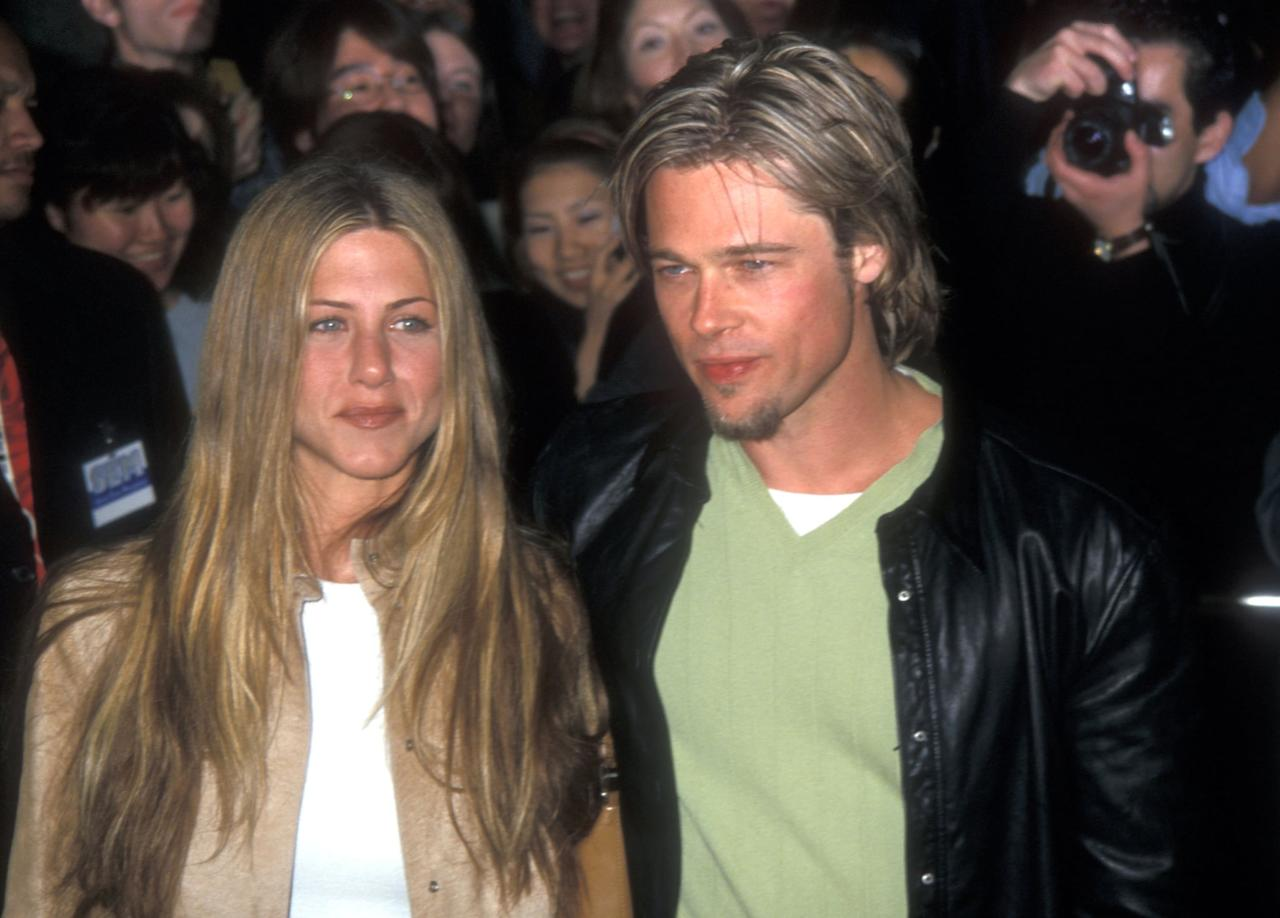 """<p>Though Brad and Jen first met back in 1994 through their managers (who were friends), Brad was seeing his <strong>Se7en </strong>costar <a class=""""sugar-inline-link ga-track"""" title=""""Latest photos and news for Gwyneth Paltrow"""" href=""""https://www.popsugar.com/Gwyneth-Paltrow"""" target=""""_blank"""" data-ga-category=""""Related"""" data-ga-label=""""https://www.popsugar.com/Gwyneth-Paltrow"""" data-ga-action=""""&lt;-related-&gt; Links"""">Gwyneth Paltrow</a> at the time. Brad proposed to Gwyn in 1996, but seven months later, <a href=""""https://www.popsugar.com/celebrity/Who-Has-Brad-Pitt-Dated-40921427"""" class=""""ga-track"""" data-ga-category=""""Related"""" data-ga-label=""""https://www.popsugar.com/celebrity/Who-Has-Brad-Pitt-Dated-40921427"""" data-ga-action=""""In-Line Links"""">they called off the engagement</a>. Around the same time, Jen called off <a href=""""https://www.popsugar.com/celebrity/Who-Has-Jennifer-Aniston-Dated-42481602"""" class=""""ga-track"""" data-ga-category=""""Related"""" data-ga-label=""""https://www.popsugar.com/celebrity/Who-Has-Jennifer-Aniston-Dated-42481602"""" data-ga-action=""""In-Line Links"""">her own engagement with actor Tate Donovan</a>, whom she'd been seeing since 1995. Jen and Brad were both single, the stars were aligned, and in 1998, Brad and Jen went on their first date. </p> <p>In a 2001 interview with <strong>Rolling Stone</strong>, Jen explained that <a href=""""http://www.rollingstone.com/tv/tv-features/interview-jennifer-aniston-171848/"""" target=""""_blank"""" class=""""ga-track"""" data-ga-category=""""Related"""" data-ga-label=""""http://www.rollingstone.com/tv/tv-features/interview-jennifer-aniston-171848/"""" data-ga-action=""""In-Line Links"""">their managers set them up</a> on that first outing. """"He was this sweet guy from Missouri, you know?"""" she said of Brad. """"A normal guy."""" Three years later, during a 2004 appearance on ABC's <strong>Primetime</strong> with Diane Sawyer, Jen said <a href=""""http://www.youtube.com/watch?v=xpRgEFwDlVQ"""" target=""""_blank"""" class=""""ga-track"""" data-ga-category=""""Related"""" data-ga-label=""""http://www.yout"""