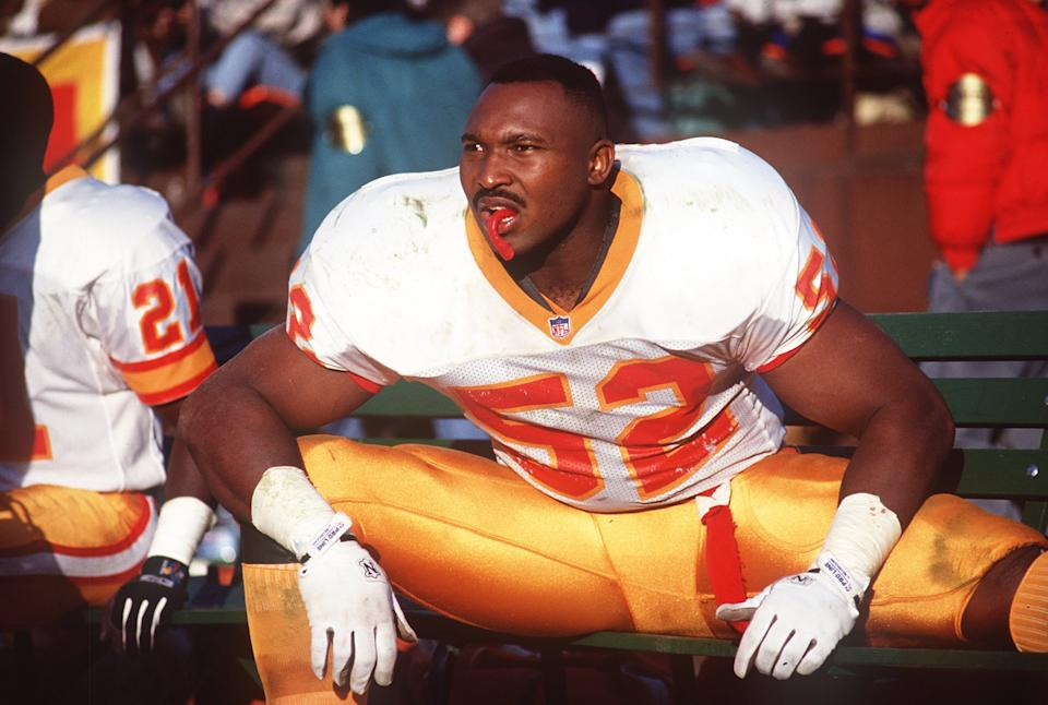 19 Dec 1992: KEITH MCCANTS OF THE TAMPA BAY BUCCANEERS DURING A BUCCANEERS V 49ERS GAME IN SAN FRANCISCO.