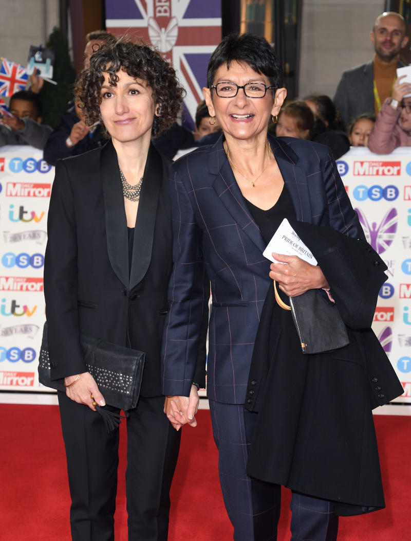 LONDON, ENGLAND - OCTOBER 28: Trilby James and Shelley King attend the Pride Of Britain Awards 2019 at The Grosvenor House Hotel on October 28, 2019 in London, England. (Photo by Karwai Tang/WireImage)