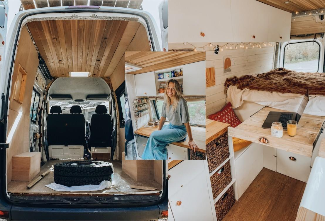 A women has shared how she transformed a run-down van into a glam motorhome. (@thecampercreative)