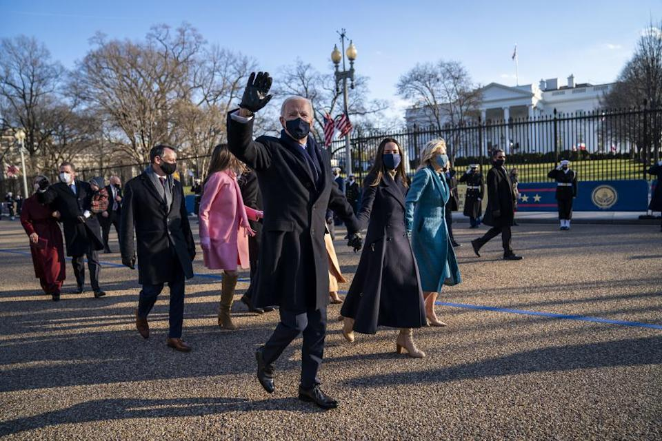 Joe Biden, Jill Biden and their family in front of the White House on Wednesday.