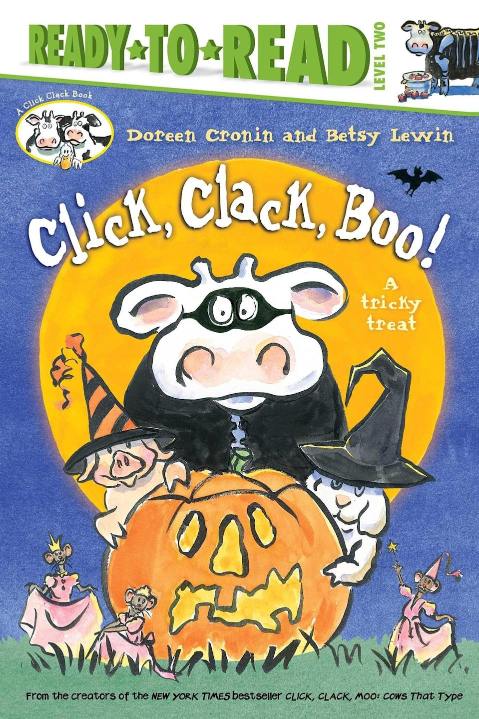 """<p>Will the barnyard animals trick-or-treat Farmer Brown? Find out in <span><strong>Click, Clack, Boo!: A Tricky Treat</strong></span> ($18), a <a class=""""link rapid-noclick-resp"""" href=""""https://www.popsugar.com/Halloween"""" rel=""""nofollow noopener"""" target=""""_blank"""" data-ylk=""""slk:Halloween"""">Halloween</a> tale from the bestselling authors of <strong>Click, Clack, Moo</strong>. Broad black lines and watercolor paintings add just the right amount of shadow and spookiness to the simple text, creating a story that is creepy enough for Halloween but won't scare little ones.</p>"""