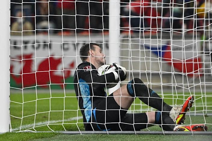Wales goalkeeper Danny Ward scores an own goal in the 2-2 draw with the Czech Republic (PA Wire via CTK) (PA Wire)