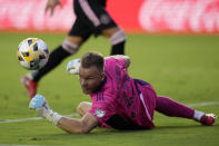 Inter Miami goalkeeper Nick Marsman deflects a shot during the first half of an MLS soccer match against the New York Red Bulls, Friday, Sept. 17, 2021, in Fort Lauderdale, Fla. (AP Photo/Rebecca Blackwell)