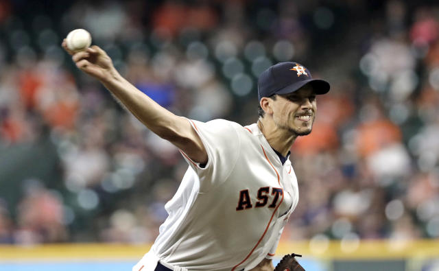 Houston Astros starting pitcher Charlie Morton throws against the Oakland Athletics during the first inning of a baseball game Thursday, July 12, 2018, in Houston. (AP Photo/David J. Phillip)