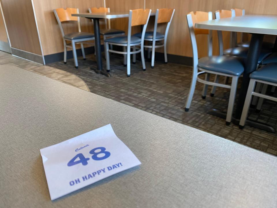 Culver's interior with number on the table