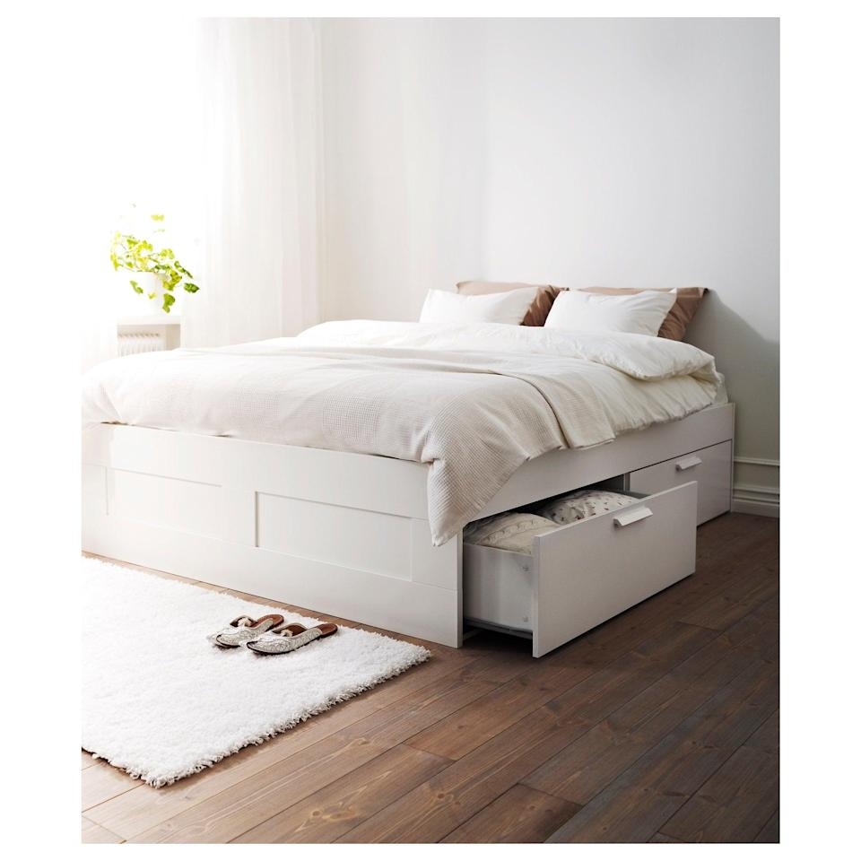 <p>Maximize your bedroom's space by taking advantage of the deep drawers on the <span>Brimnes Bed Frame</span> ($249, originally $299).</p>